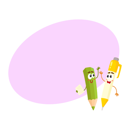 rollerball: Cute, funny pen and pencil characters with smiling human faces cheering, clapping hands, cartoon vector illustration with space for text. Smiling student pen and pencil characters, mascots