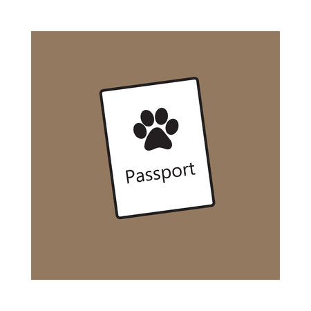 Pet passport, formal document, certificate for dog, cat, transportation, sketch vector illustration isolated on brown background. Pet passport as small booklet with print on cover