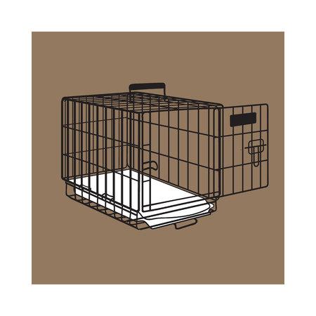Metalen draad kooi, krat voor huisdier, kat, hond vervoer, schets stijl vector illustratie geïsoleerd op bruine achtergrond. Hand getekende metalen draad honden krat, kooi op bruine achtergrond