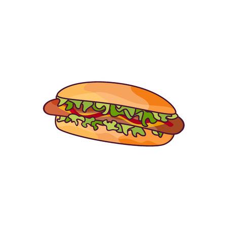 Hotdog der Vektorwurst mit Salat und Gemüse. Flache Karikatur des Schnellimbisses lokalisierte Illustration auf einem weißen Hintergrund. frisches Sandwich mit Soße und Salat Standard-Bild - 83305875