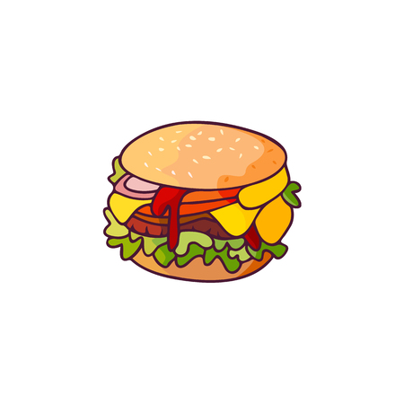 Vector burger flat isolated illustration on a white background. Tasty fresh fastfood chickenburger, cheesburger with vegetables. Sandwich burger with onion ,lettuce tomato cheese and sauce