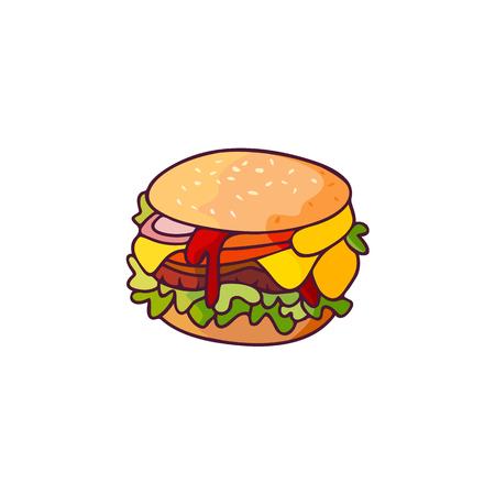 Vectorhamburger vlakke geïsoleerde illustratie op een witte achtergrond. Lekkere verse fastfood chickenburger, cheesburger met groenten. Sandwichburger met ui, kropsla kaas en saus Stock Illustratie