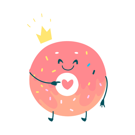 Vector sweet humanized pink donut character with arms and legs. Flat cartoon isolated illustration on a white background. Funny smiley dessert in golden crown