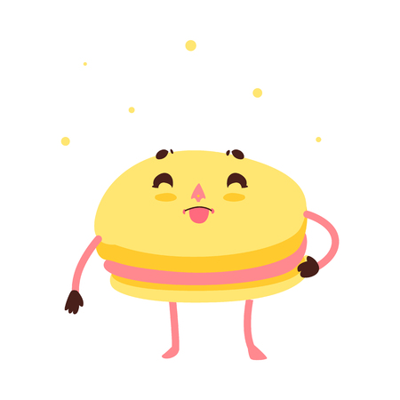 Vector sweet humanized yellow macaroon character with arms and legs. Flat cartoon isolated illustration on a white background. Funny smiley dessert in golden crown