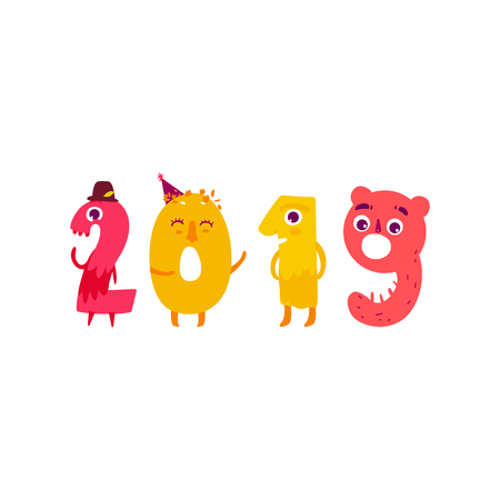 Vector cute animallike character number 2019. Flat cartoon illustration on a white background. Happy birthday, new year decorative numbers. Funny smiling colored math, education symbols Ilustrace
