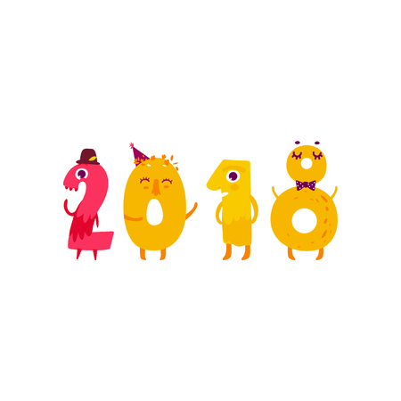 Vector cute animallike character number 2018. Flat cartoon illustration on a white background. Happy birthday, new year decorative numbers. Funny smiling colored math, education symbols Ilustrace