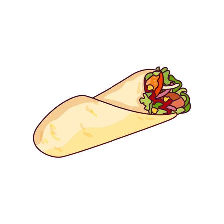 벡터 닭고기, 야채 롤, 패스트 푸드 식사. Doner gebab, shawarma 평면 만화 그림 흰색 배경에 고립. 아랍어, 동부 음식, 손으로 그린 이미지. 부리 토, 타코 -