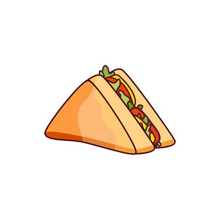 야채와 벡터 샌드위치입니다. 패스트 푸드 평면 만화 격리 된 그림 흰색 배경에. 치즈, 토마토 및 샐러드를 곁들인 삼각형의 신선한 샌드위치 스톡 콘텐츠 - 83305893