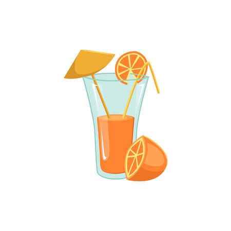Zumo de naranja recién exprimido en vaso alto con paja y paraguas, ilustración vectorial de dibujos animados aislado sobre fondo blanco. Jugo de naranja, cóctel, beber en copa de cristal decorado con paja Foto de archivo - 83305894