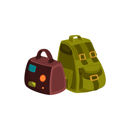 Couple of travel bags - leather suitcase with travel stickers and khaki colored textile backpack, cartoon vector illustration isolated on white background. Travel bags - handbag and backpack Ilustrace