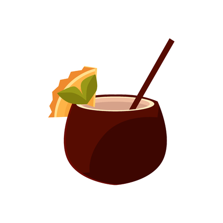Cocktail, soft drink with straw in coconut shell, cartoon vector illustration isolated on white background. Cartoon coconut drink decorated with cocktail straw and orange slice Illustration