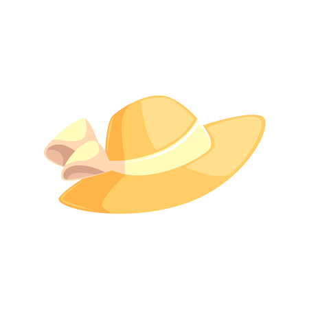 Pretty feminine straw summer hat with wide brims, cartoon vector illustration isolated on white background. Summer straw floppy hat with white ribbon, beach vacation attribute Illustration