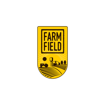 Verticaal landbouwbedrijfembleem, kenteken, etiket met gebied, tractor, huis en watertoren over het opheffen van zonachtergrond, vectorillustratie. Twee kleuren verticaal logo, badge, labelontwerp met boerderij en velden