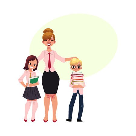 Full length portrait of female teacher and two students - boy and girl holding books, cartoon vector illustration isolated on white background. Teacher and two students with speech bubble