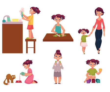 La rutina diaria, niña haciendo tareas, ayudar a la madre, alimentar a gato, ir a la escuela, jugando con juguetes, ilustración vectorial de dibujos animados aislado sobre fondo blanco. Conjunto de rutina diaria, niña Ilustración de vector