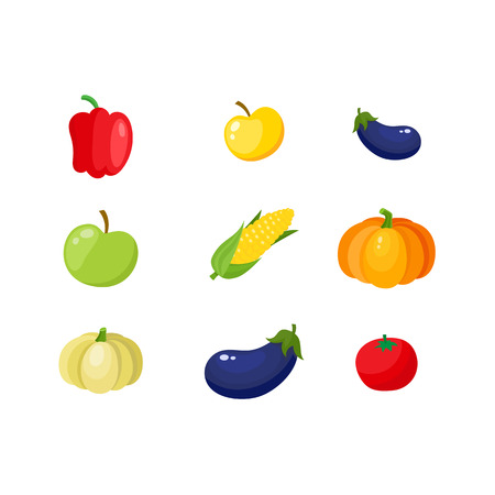 Fall, autumn harvest set - pumpkin, corn, eggplant, bell pepper, tomato and apples, cartoon vector illustration isolated on white background. Cartoon ripe apples and vegetables