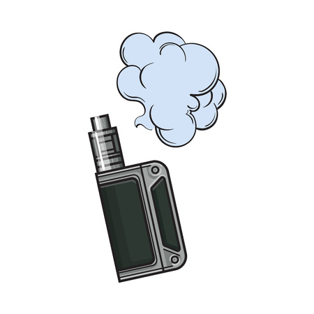 Hand drawn vape, vaping device with smoke cloud, sketch vector illustration isolated on white background. Realistic hand drawing of vape, vaporizer device emitting smoke cloud