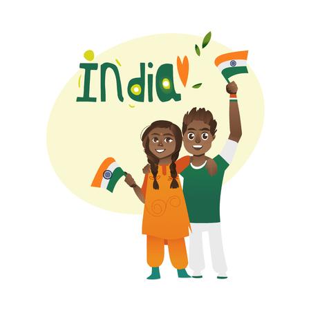 Giovani coppie, uomo e donna che tiene, sventolando bandiere indiane, fumetto illustrazione vettoriale isolato su sfondo bianco. Ritratto a figura intera di coppia, uomo e donna con bandiere tricolore indiani Archivio Fotografico - 83320364