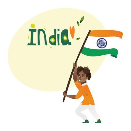 인도 소년, 아이, 10 대 보유 하 고 흔들며 큰 3 색 인도 플래그, 흰색 배경에 고립 된 만화 벡터 일러스트 레이 션. 국가 삼색기 국기와 인도 소년