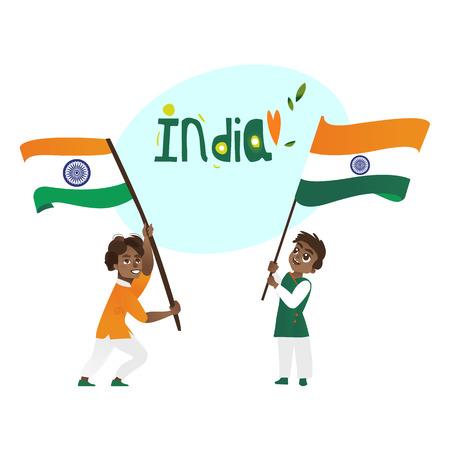 두 소년, 아이, 인도 플래그 및 인도 국가 이름 레터링, 만화 벡터 그림 흰색 배경에 고립 된 보유하는 십 대. 인도 3 세 국기, 인도 국가 이름을 가진 인 일러스트