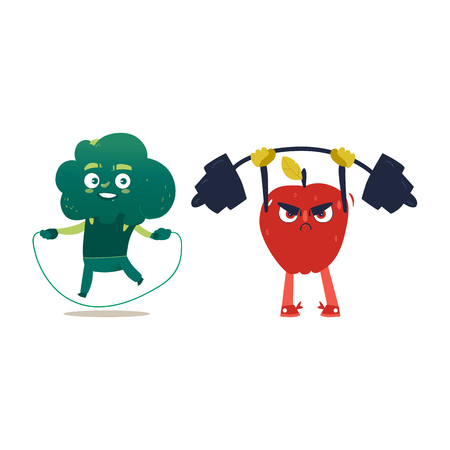 Funny apple and broccoli characters doing sports with jumping rope and barbell, cartoon vector illustration isolated on white background. Apple and broccoli characters, heroes doing sport exercised