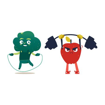Grappige appel- en broccoli karakters sporten met springtouw en barbell, cartoon vectorillustratie geïsoleerd op een witte achtergrond. Appel- en broccoli karakters, helden die sport uitoefenen Stock Illustratie