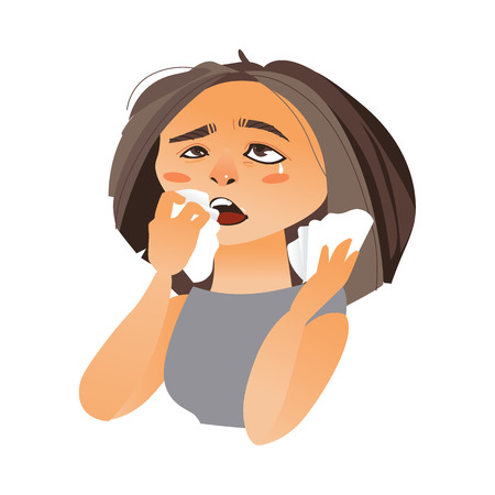 Woman with rhinitis wiping nose with paper tissue, having flu, allergy, cartoon vector illustration isolated on white background. Half length portrait of girl, woman suffering rhinitis, runny nose Illustration