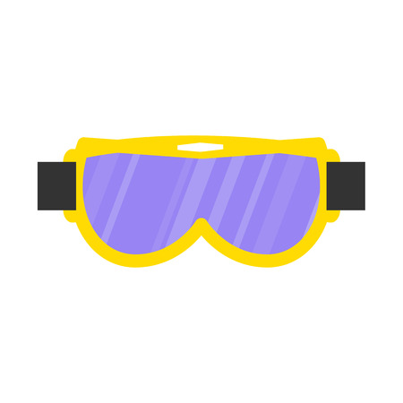 Skiing, snowboarding mask, goggles, eyewear, protective eye glasses, flat style vector illustration isolated on white background. Flat vector skiing, snowboarding mask, goggles, protective eyewear