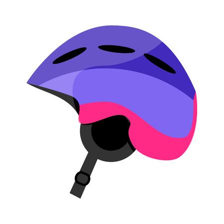 Skiing, snowboarding plastic helmet, winter sport gear, flat style vector illustration isolated on white background. Flat vector skiing, snowboarding helmet, hart hat, colorful illustration