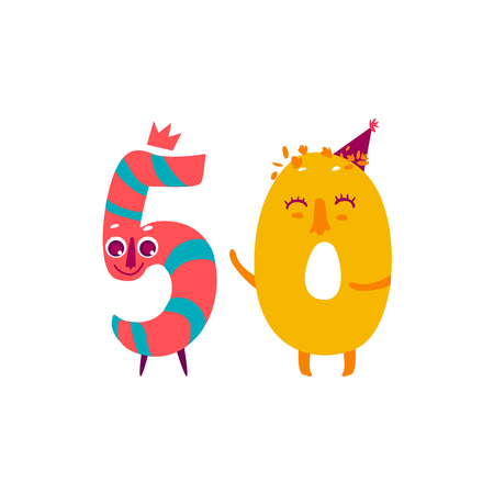 Vector cute animallike character number fifty 50. Flat cartoon illustration on a white background. Happy birthday, new year decorative numbers. Funny smiling colored math, education symbols Illustration