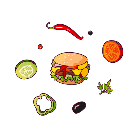 Vector flying ingredients, burger set flat isolated illustration on a white background. Vegetables for pizza, sandwich, roll shawarma fastfood preparation. Chilli, tomato pepper olive cucumber cartoon Ilustração
