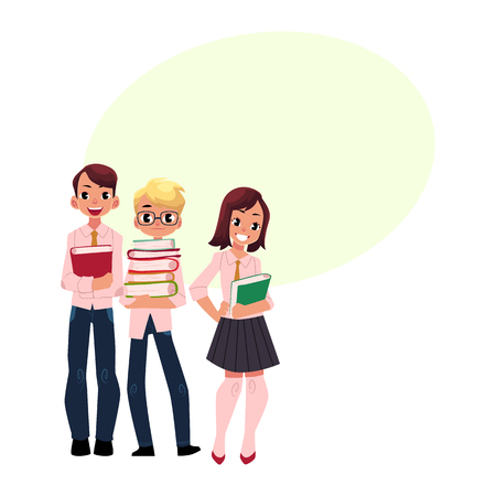 Three students, pupils, school kids standing together, holding books, cartoon vector illustration isolated on white background. Group of pupils with speech bubble
