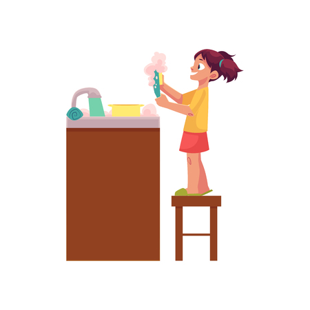 Little girl washing dishes, standing on stool at water sink, daily routine, cartoon vector illustration isolated on white background. Cartoon little girl washing dishes, helping mother Illustration
