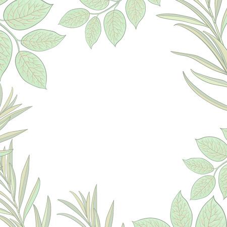 Bannière carrée, cadre de brindilles, branches avec des feuilles vertes fraîches et place ronde pour le texte, illustration vectorielle de croquis isolé sur fond blanc. Banque d'images - 83320665