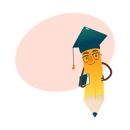 Vector cartoon gehumaniseerd potlood met armen en gezicht emoties, boek in handen in glazen en academische cap houden. Vlak geïsoleerde illustratie op een witte achtergrond met tekstballon Stock Illustratie