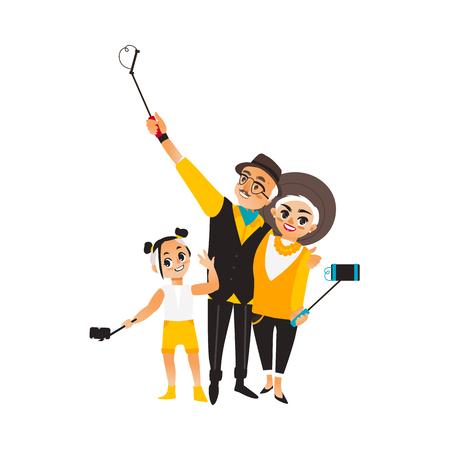 Vector erwachsene Paar und Mädchen macht selfie. Isolierte Darstellung auf einem weißen Hintergrund. Mann Frau und Kind, Kind in Mode Kleidung macht Foto von selfie Stick im Urlaub Vektorgrafik