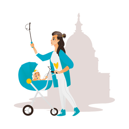 Vector woman with baby in stroller make selfie on the background of muslim mosque. Flat cartoon Isolated illustration on a white background. Female adult infant makes photo by selfie stick on vacation Illustration