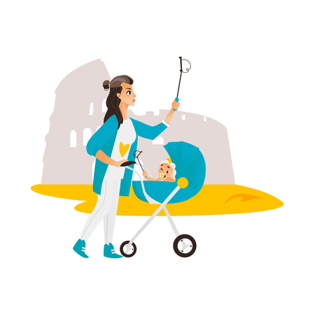 Vector woman with baby in stroller make selfie on the background of Coliseun. Flat cartoon Isolated illustration on a white background. Female adult baby infant makes photo by selfie stick on vacation Illustration