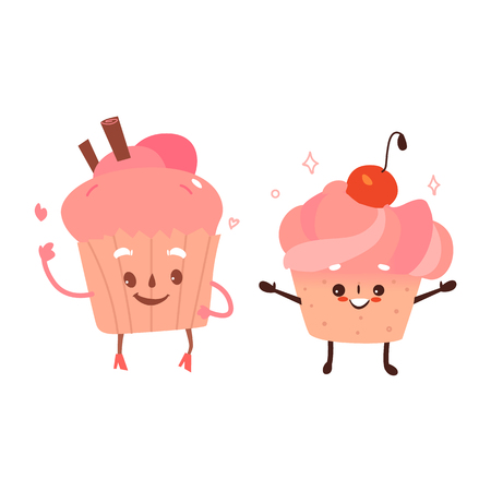 Vector sweet humanized character set. Brownie, cupcake with arms and legs. Flat cartoon isolated illustration on a white background. Funny smiley dessert with cream and cherry on head. Illustration