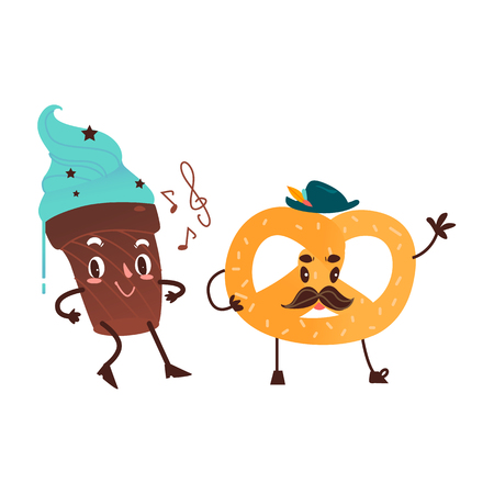 Vector sweet humanized character set. Pretzel with mustache in hat, chocolate cake with arms and legs in hat. Flat cartoon isolated illustration on a white background. Funny smiley dessert . Ilustração