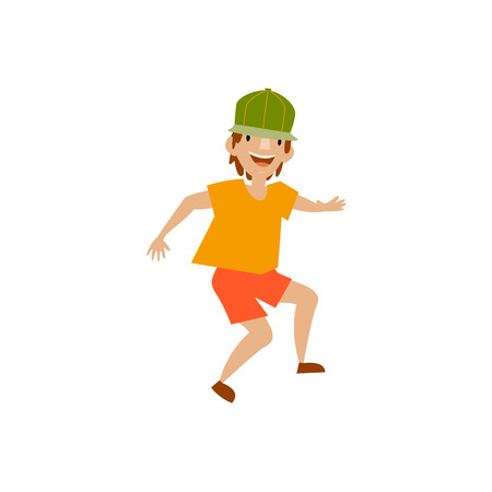 Vector young man in green cap and orange shorts funny dances. Flat cartoon illustration isolated on a white background. Teenager having fun dancing and smiling cheerfully.