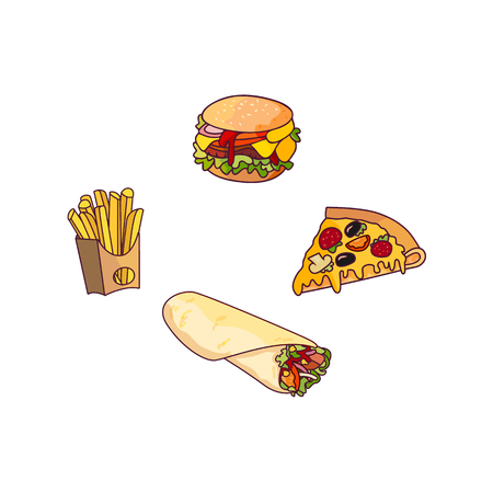 Vector burger pizza slice, roll potato fry, set. Fast food flat cartoon isolated illustration on a white background. Pepperoni pizza with cheese, french fries in paper box, sandwich vegetable shawarma Illustration