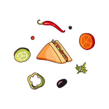 Vector flying ingredients, sandwich set flat isolated illustration on a white background. Vegetables for pizza, sandwich roll shawarma fastfood preparation. Chilli tomato pepper olive cucumber cartoon Illustration