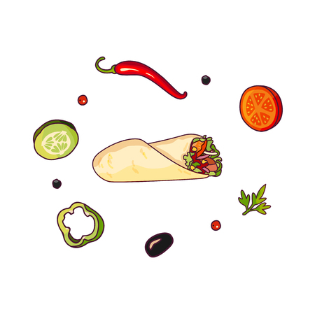 oregano: Vector flying ingredients shawarma set flat isolated illustration on a white background. Vegetables for pizza, sandwich, roll fastfood preparation. Chilli, tomato pepper olive cucumber cartoon