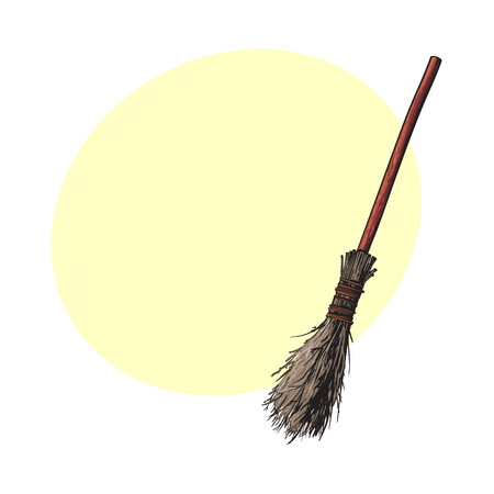 Single old twig broom, broomstick, traditional Halloween symbol, sketch style vector illustration with space for text. Hand drawn, sketch style witch broom, broomstick, Halloween object Ilustração
