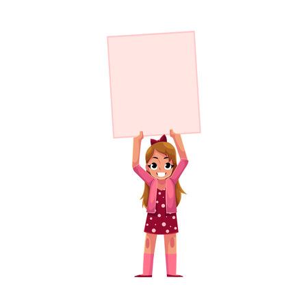 Kleines Mädchen, Kind, Kind mit leeren leeren Plakat, Bord, Nachricht oder Präsentation Element, Cartoon Vektor-Illustration isoliert auf weißem Hintergrund. Kleines Mädchen mit leeren, leeren Plakat über Kopf Standard-Bild - 83343878