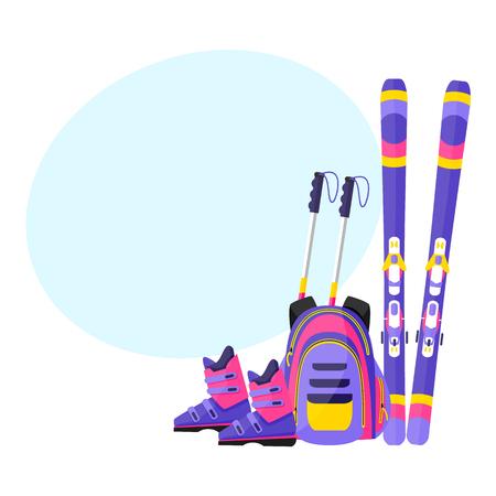 Ski's, stokken, laarzen en rugzak, winter sport vakantie elementen, vlakke stijl vectorillustratie met ruimte voor tekst.