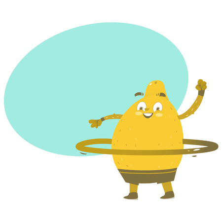 Funny lemon character doing sport exercises with hula hoop, comic, cartoon vector illustration isolated on white background. Funny lemon hero, character twirling hula hoop around waist, doing sport