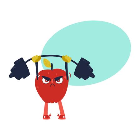 Grappig appelkarakter die in gymnastiek uitwerken, barbell opheffen, grappig, beeldverhaal vectordieillustratie op witte achtergrond wordt geïsoleerd. Grappig ernstig rood appelkarakter, sportman die barbell, het bodybuilding opheffen