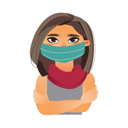 Woman wearing medical mask, half length front view portrait, cartoon vector illustration isolated on white background. Half length portrait of girl, woman wearing medical face mask Illustration